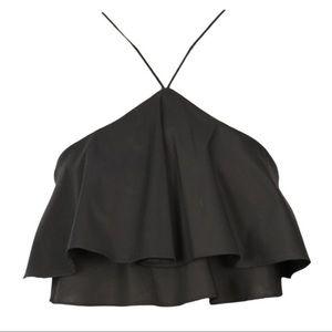 Zara Tops - Zara 🌸 Black Ruffle Crop Top w/ Halter Neckline
